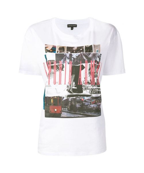 EMPORIO ARMANI T-SHIRT WITH MILAN CITY PICTURE PRINT