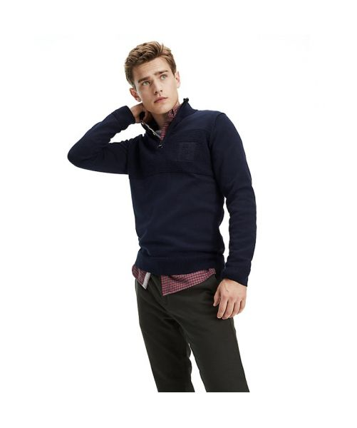 EMBROIDERED HALF-ZIP JUMPER