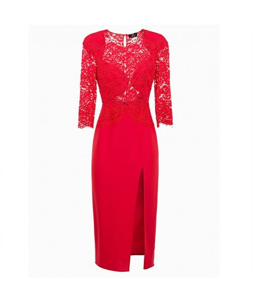ELISABETTA FRANCHI LONG LACE EMBROID DRESS