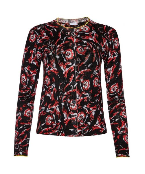 EMBROIDERED FLORAL PRINT CARDIGAN