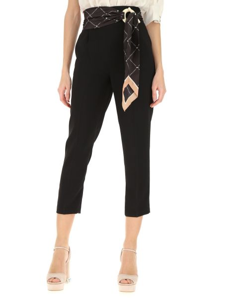 ELISABETTA FRANCHI TROUSERS WITH BELT