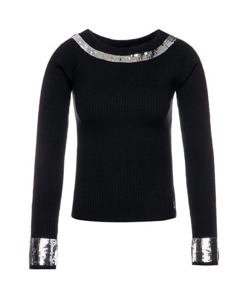 KNIT JUMPER WITH SEQUIN DETAILS
