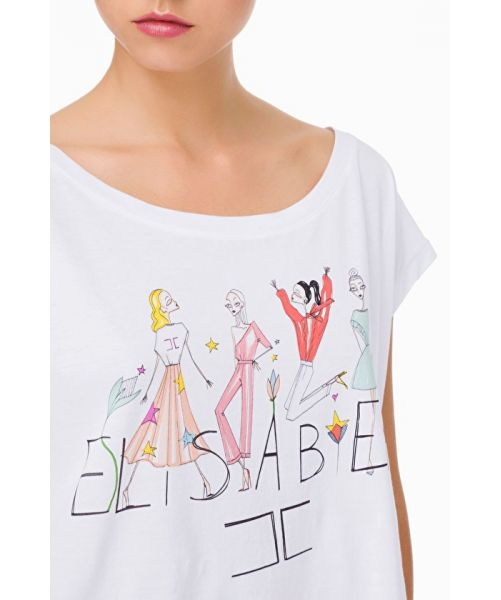 ELISABETTA FRANCHI OVER T-SHIRT WITH drawing