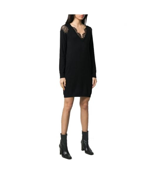 KNITWEAR DRESS WITH LACE INSERTS