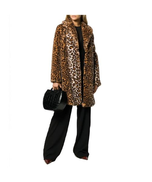 FAUX FUR OVERCOAT IN LEOPARD PRINT