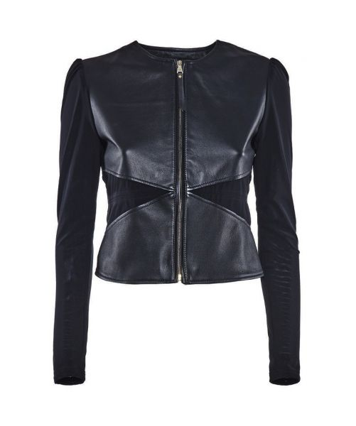 SHORT JACKET NINFEA IN LEATHER