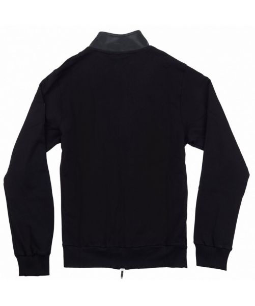 SWEATSHIRT WITH FAUX LEATHER INSERTS