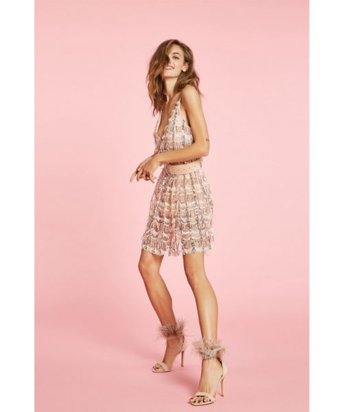 ANIYE BY PEARL DRESS WITH FRINGES AND SEQUINS