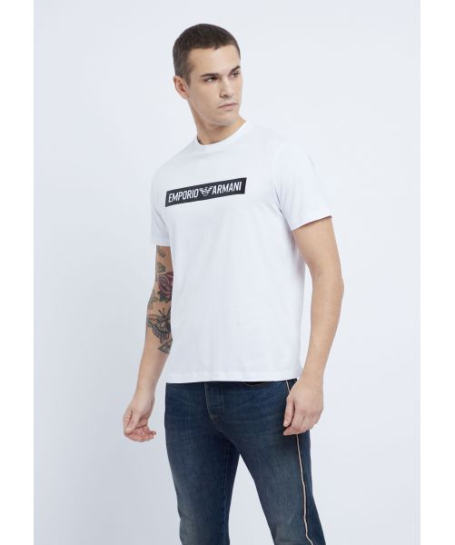 EMPORIO ARMANI T-SHIRT WITH WRITTEN IN RUBBER