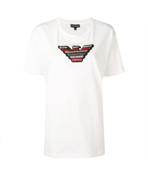 EMPORIO ARMANI T-SHIRT WITH MULTICOLOUR EAGLE: