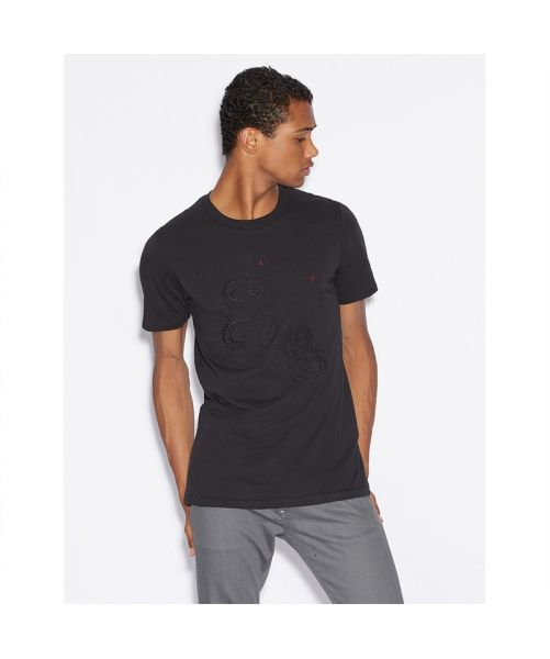 ARMANI EXCHANGE T-SHIRT WITH DRAGON EMBROIDERY