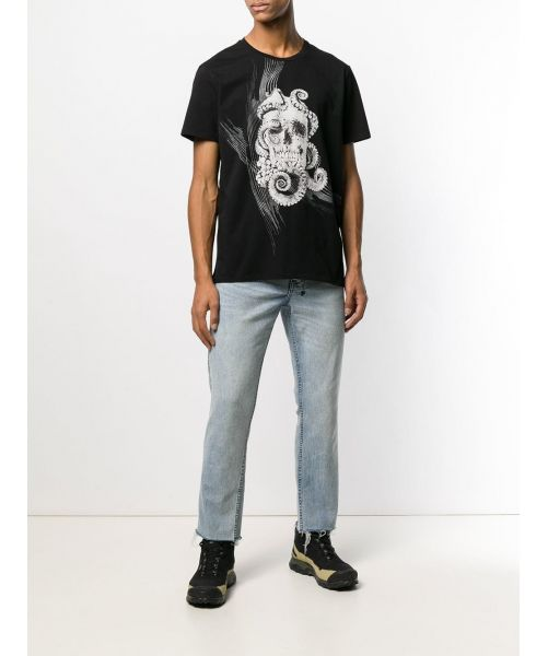 JUST CAVALLI T-SHIRT WITH OCTOPUS AND SKULL PRINT