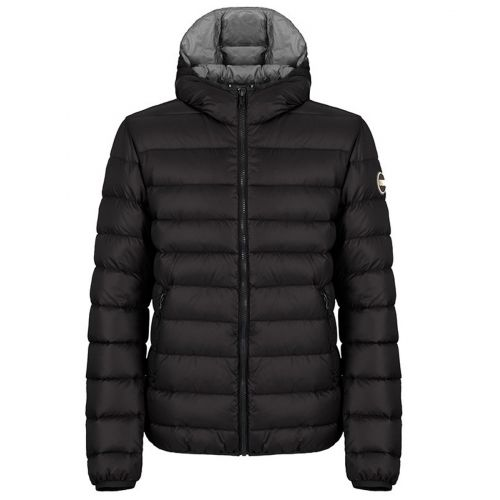 Fixed hooded down jacket