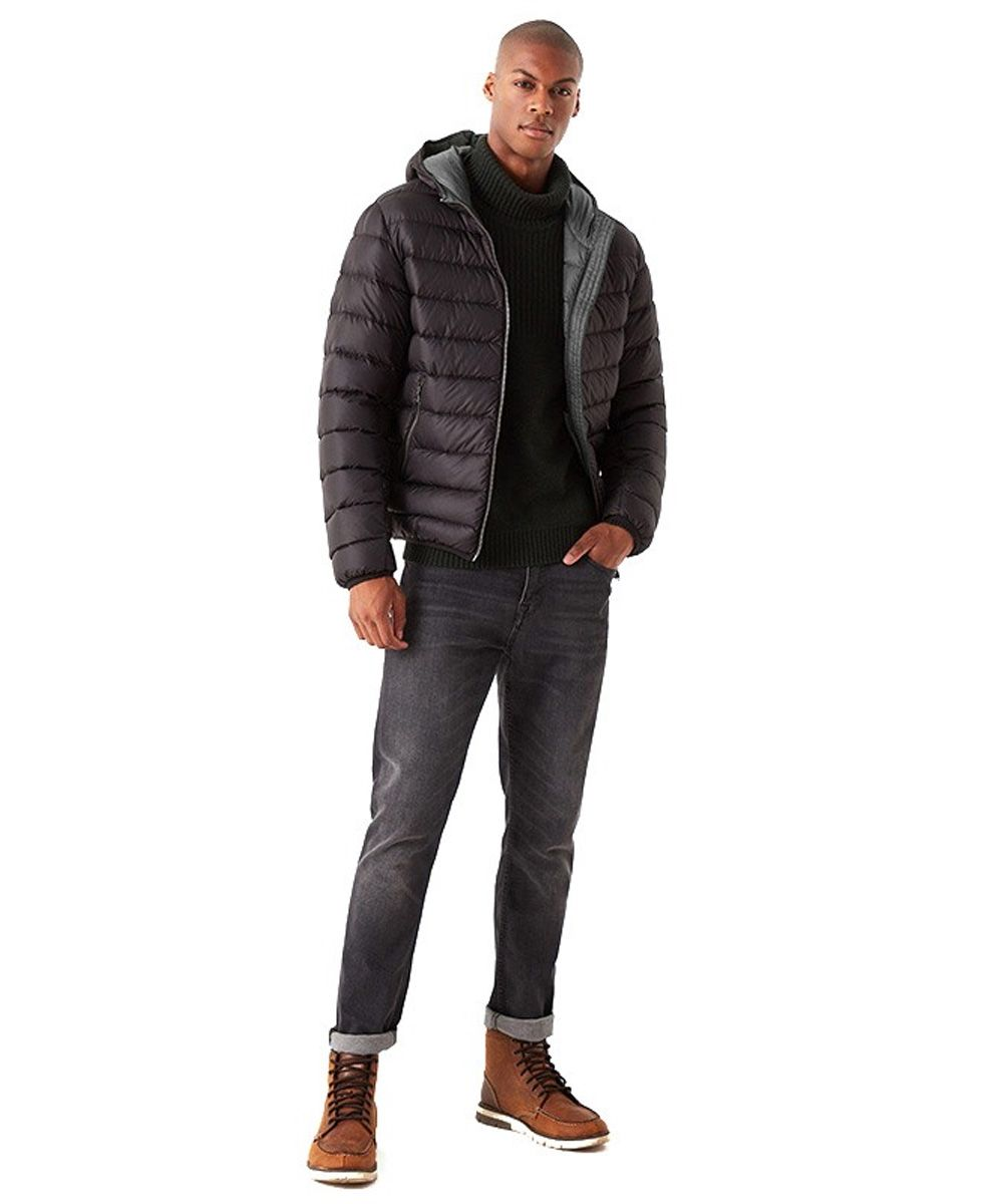 Ficed hooded down jacket