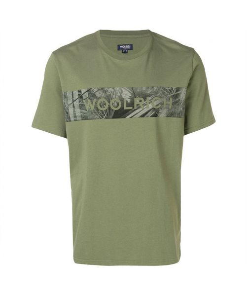 WOOLRICH T-SHIRT WITH FANTASY BAND WITH LOGO