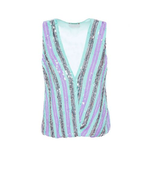 NENETTE TOP WITH STRIPED PAILLETTES